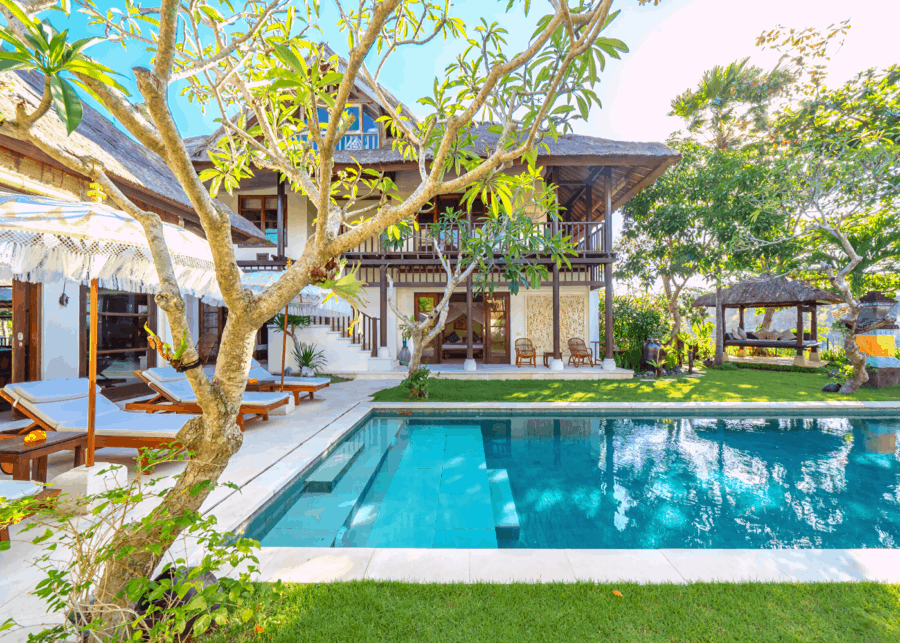 Garden and private pool of a luxury holiday villa in Bali