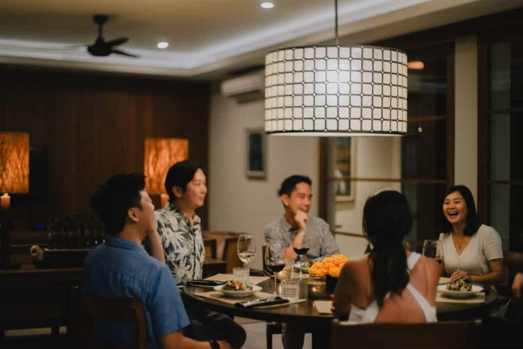 Group of friends enjoying dinner at Villa Uma Berawa